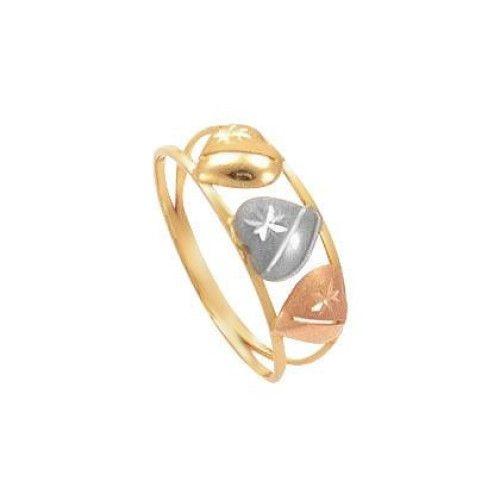 Anel em Ouro 18k/750 Três Corações Tricolor com Detalhes Diamantado