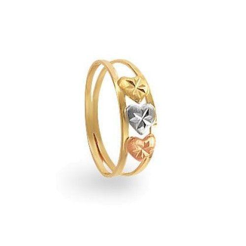 Anel em Ouro 18k/750 Coração Tricolor Diamantado