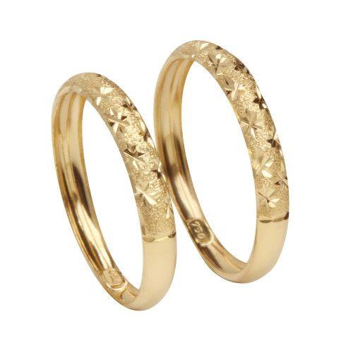Anel em Ouro 18k/750 Par de Aparador Diamantado com Estrela