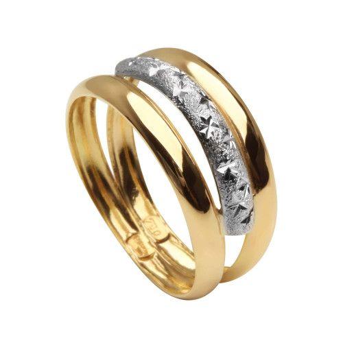 Anel em Ouro 18k/750 Três Aros Bicolor Diamantado e Martelado