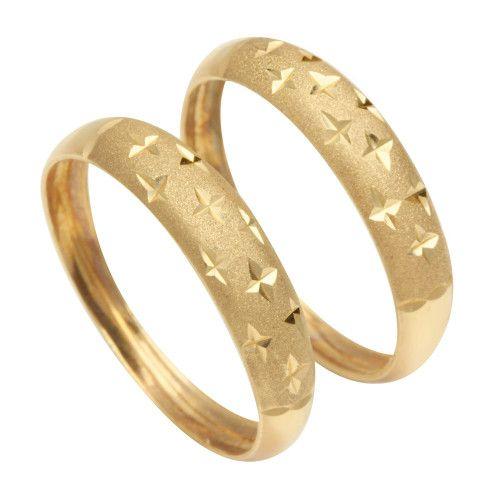 Anel em Ouro 18k/750 Par de Aparador Diamantado Estrela