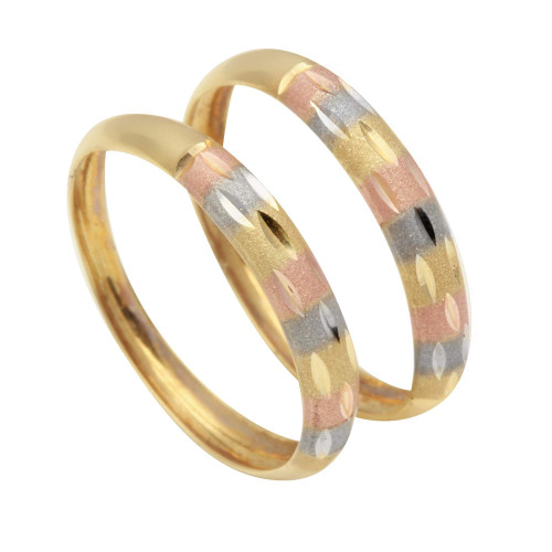 Anel em Ouro 18k/750 Par Aparador Tricolor Diamantado