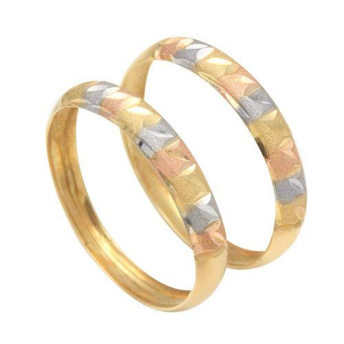Anel em Ouro 18k/750 Par Aparador Diamantado Tricolor