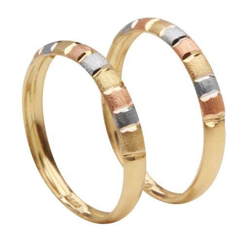 Anel em Ouro 18k/750 Par de Aparador Tricolor Diamantado