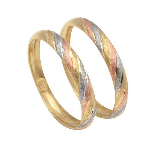 Anel em Ouro 18k/750 Par de Aparador Tricolor Diamantado Diagonal