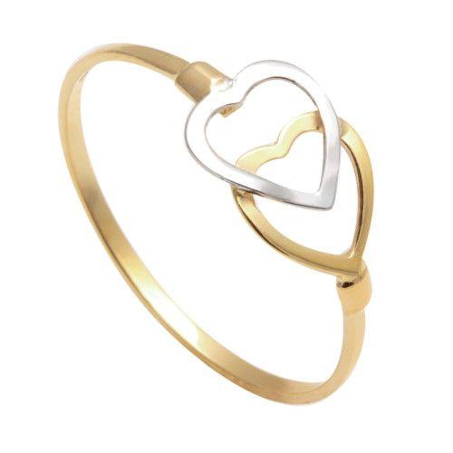 Anel em Ouro 18k/750 Dois Corações Bicolor Diamantado