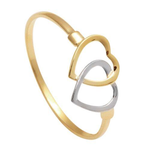 Anel em Ouro 18k/750 Coração Bicolor Duplo