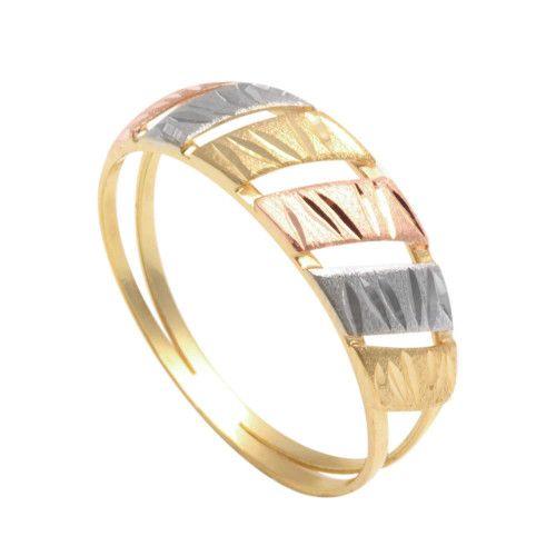 Anel em Ouro 18k/750 Tricolor Diamantado