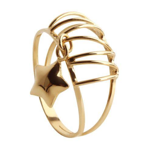 Anel em Ouro 18k/750 Aro Duplo Liso com Pingente de Estrela