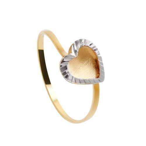 Anel em Ouro 18k/750 Coração Bicolor Diamantado e Fosco