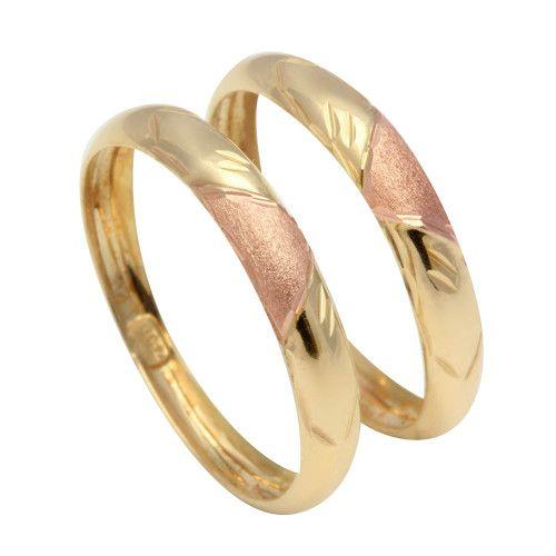 Anel em Ouro 18k/750 Par de Aparador Bicolor Diamantado