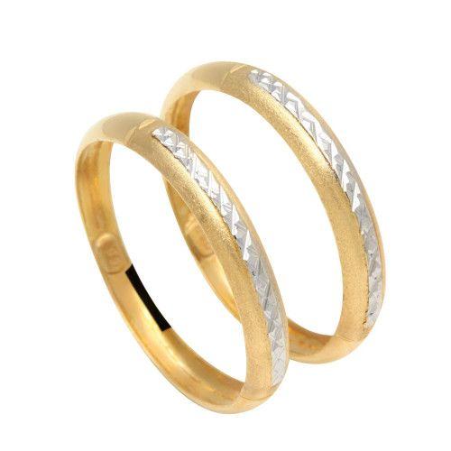 Anel em Ouro 18k/750 Par de Aparador Diamantado Bicolor