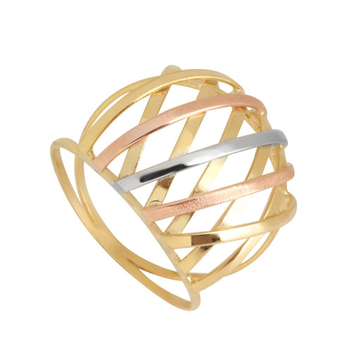 Anel em Ouro 18k/750 Aro Duplo Trançado Fino Tricolor