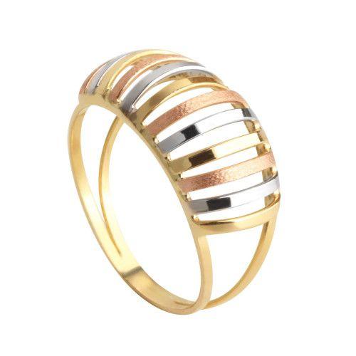 Anel em Ouro 18k/750 Aro Duplo Tricolor
