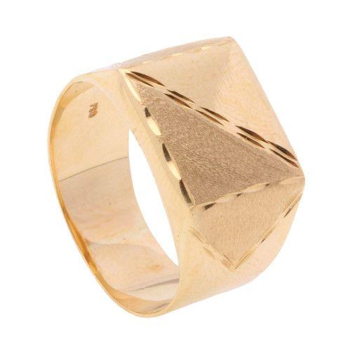 Anel em Ouro 18k/750 Masculino Diagonal Diamantado