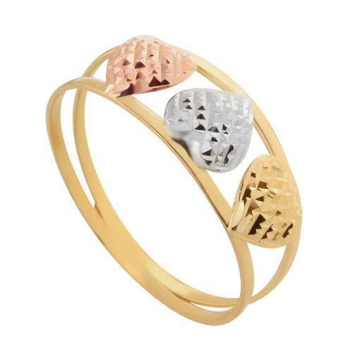 Anel em Ouro 18k/750 Aro Duplo Tricolor Três Corações Diamantado
