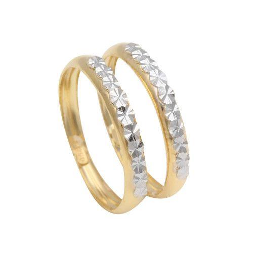 Anel em Ouro 18k/750 Par de Aparador Diamantado Falsa Pedra