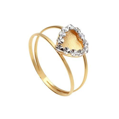 Anel em Ouro 18k/750 Aro Duplo de Coração Diamantado