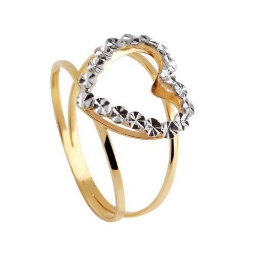 Anel em Ouro 18k/750 Aro Duplo Coração Bicolor Diamantado Falso Brilhante