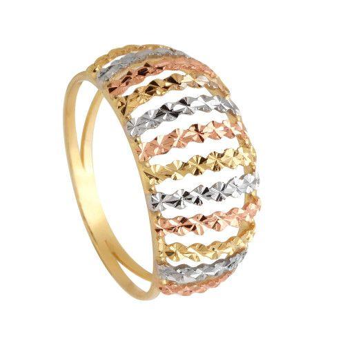 Anel em Ouro 18k/750 Aro Duplo Tricolor Diamantado