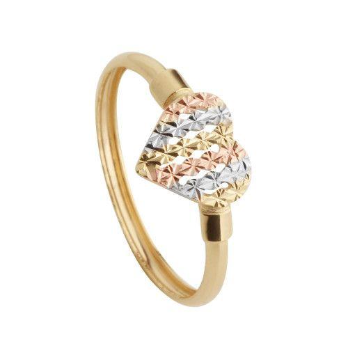 Anel em Ouro 18k/750 Coração Tricolor Diamantado Vazado