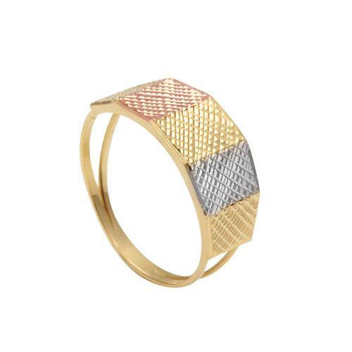 Anel em Ouro 18k/750 Aro Duplo Três Cores Diamantado