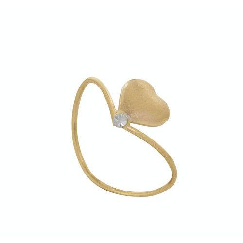 Anel em Ouro 18k/750 Coração Fosco com Falsa Pedra Médio