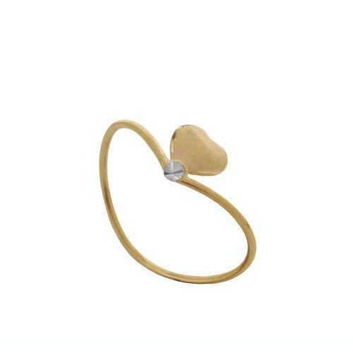 Anel em Ouro 18k/750 Coração Fosco com Falsa Pedra Pequeno