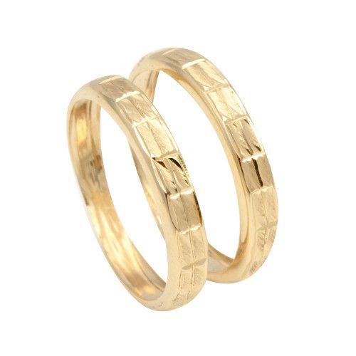 Anel em Ouro 18k/750 Par de Aparador Diamantado e Martelado
