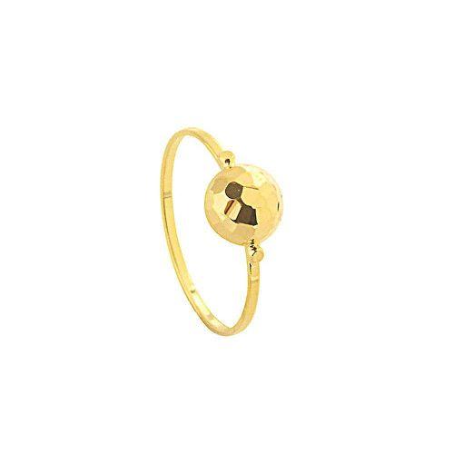 Anel em Ouro 18k/750 Côncavo Meia Bola Diamantado 7mm x 1mm