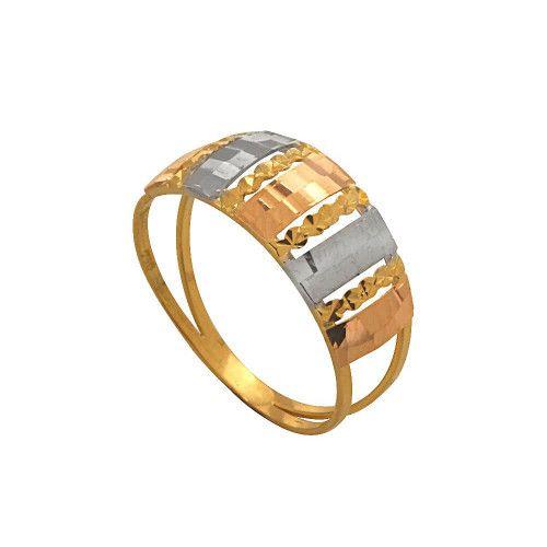 Anel em Ouro 18k/750 Tricolor com Detalhes Falsa Pedra