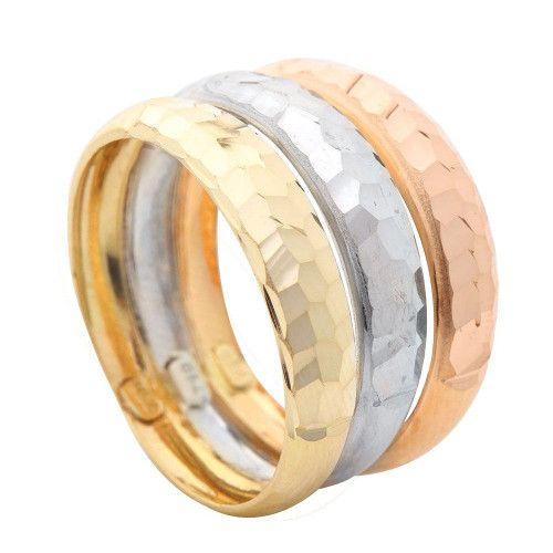 Anel em Ouro 18k/750 Triplo Três Cores Diamantado