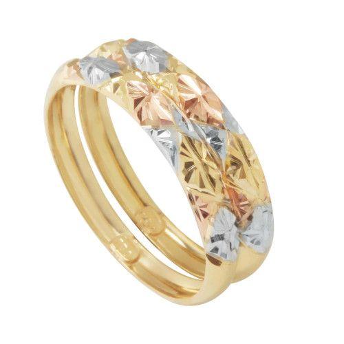 Anel em Ouro 18k/750 Par Aparador Três cores Diamantados Aro Liso