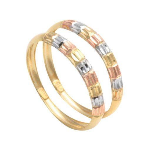 Anel em Ouro 18k/750 Par Aparador Três Cores de Ouro Diamantado