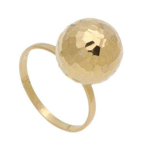 Anel em Ouro 18k/750 Bola 12mm Diamantado