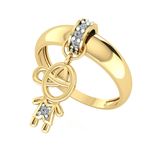 Anel em Ouro 18k/750 Kaká Menino com Diamante
