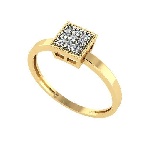 Anel em Ouro 18k/750 Chuveiro Quadrado com Banho em Ródio e Diamante