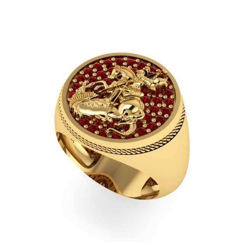 Anel em Ouro 18k/750 São Jorge com Rubi