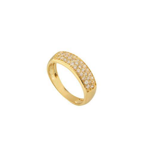 Anel em Ouro 18k/750 Cravejado com Trinca e Quatro Pedras de Zircônia