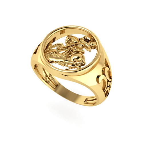 Anel em Ouro 18k/750 São Jorge Vazado