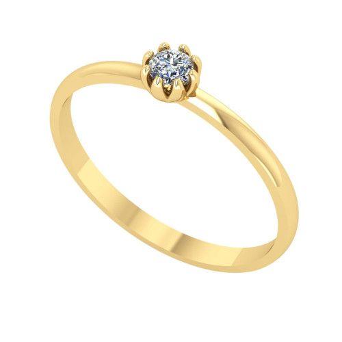 Anel em Ouro 18k/750 Solitário Oito Garras com Diamante 3mm