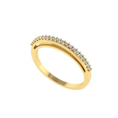 Anel em Ouro 18k/750 Meia Aliança Fininho com Vinte Pedras de Zircônia