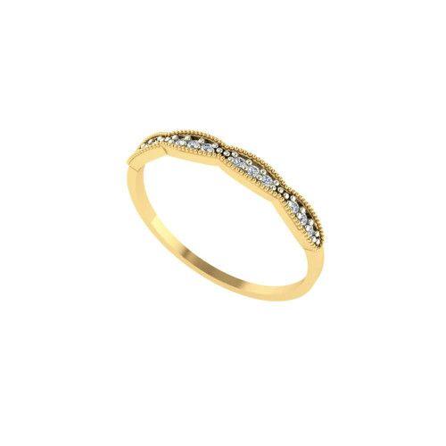 Anel em Ouro 18k/750 Fininho com 12 Pedras de Zircônia