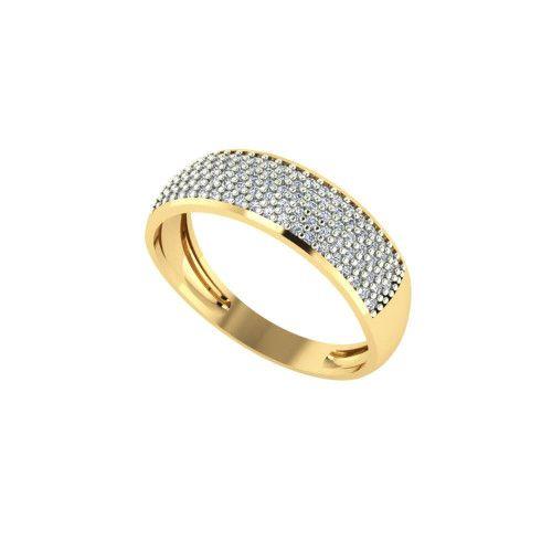 Anel em Ouro 18k/750 Meia Aliança com Noventa e Oito Pedras de Zircônias
