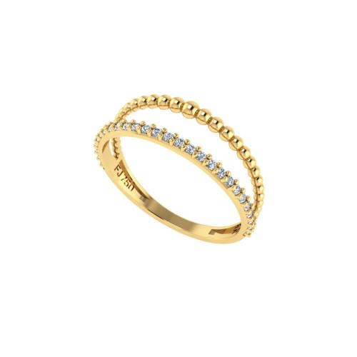Anel em Ouro 18k/750 Aro Duplo Bolinha e Fileira com Vinte e Sete Pedras de Zircônia