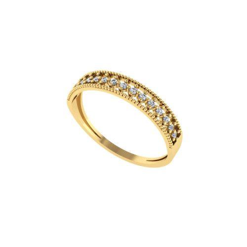 Anel em Ouro 18k/750 Meia Aliança com Bolinha e Quinze Pedras de Zircônia