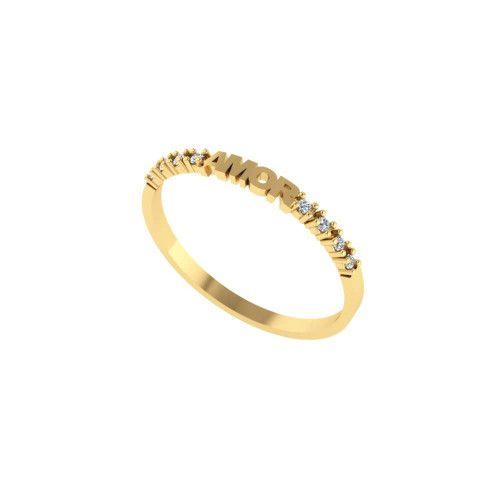 Anel em Ouro 18k/750 Meia Aliança Amor com Pedras de Zircônia