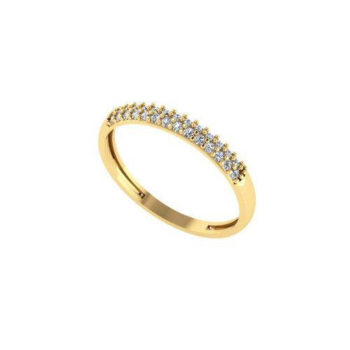 Anel em Ouro 18k/750 Meia Aliança Cravejado com 27 Pedras de Zircônia