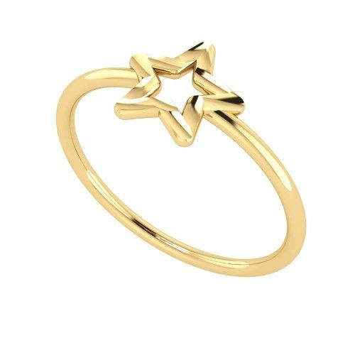Anel em Ouro 18k/750 com Estrela Diamantada