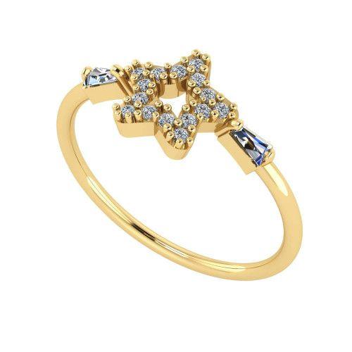 Anel em Ouro 18k/750 Estrela com Zircônia